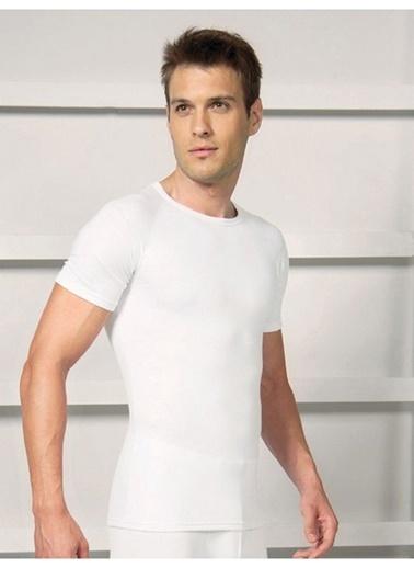 Lingabooms Erkek O-Yaka Kısa Kollu Üst Sıcak Tutan Termal İçlik Beyaz
